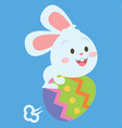 bunny flying with egg style easter theme vector image