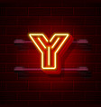 neon city font letter y signboard vector image