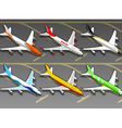 Isometric Airplanes in Six Livery in Front View vector image