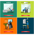 set of workers profession square posters in vector image