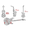 Word clouds and notes in shape of guitars violin vector image vector image