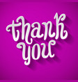 Thank you handwritten brush pen lettering on pink vector image