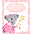 Baby pink frame with koala vector image
