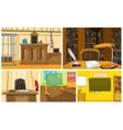 cartoon set of court and school backgrounds vector image