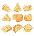 cheese doodle icons set vector image