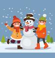 children build snowman vector image