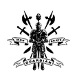 Hand drawn Knight in armor weapons vector image