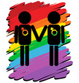Homosexual love with rainbow background vector image