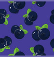 seamless pattern blueberries on purple background vector image