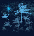 tropical background with palm trees at nigh vector image