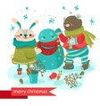 cartoon rabbit and bear making snowman vector image