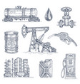 oil industry drawn icon set vector image