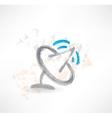 Brush icon with satellite antenna vector image