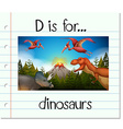 Flashcard letter D is for dinosaurs vector image