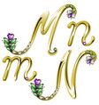 Gold alphabet with diamonds and gems letters M N vector image