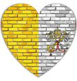 Flag of Vatican City on a brick wall in heart vector image