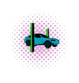 Car on the lift comics icon vector image