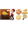 Chef making pizza at hot stove vector image