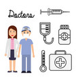 doctors couple professional occupation work vector image