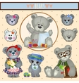 Gray Teddy bears big family mom dad and children vector image