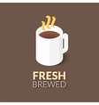 Hot coffee in white cup icon vector image