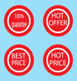Label sticker best and hot price vector image