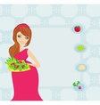 pregnant girl with a plate of salad in a hand vector image