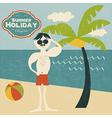 retro man on the beach vector image