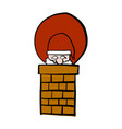 santa claus getting in the chimney vector image