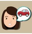 woman car vehicle transport vector image