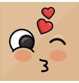 lovely heart emoticon winking eyes vector image