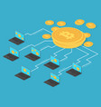 crypto money and net banking bitcoin mining vector image