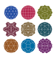 Collection of 9 single color complex dimensional vector image vector image