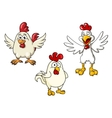 White roosters and cocks cartoon characters vector image