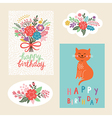 set of happy birthday design cards vector image