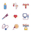 baby health icons set flat style vector image