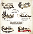 Bakery labels retro style set vector image