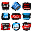 black friday and cyber monday sale banner with big vector image