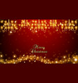christmas fairy lights on red background vector image