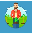 Man pushing wheelbarrow with plant vector image
