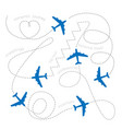 planes leaving dashed lines concept of romantic vector image