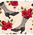 Vintage shoes seamless background vector image