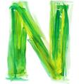 Watercolor Font LETTER N vector image