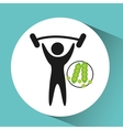 sport man barbell lift nutrition health vector image