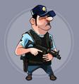 cartoon man in uniform police officer vector image