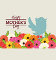 happy mothers day bird flowers decoration card vector image
