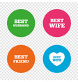 best wife husband and friend icons vector image