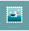 Seagull flat stamp vector image