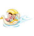 Children in boat vector image