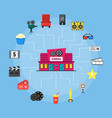cartoon cinema building and element movie concept vector image